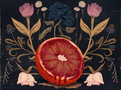 Final Cover death wilt blood dead flowers orange vintage grunge texture illustration