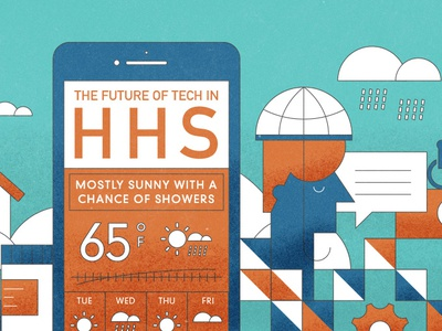HHS Graphic metaphor technology mobile weather type texture illustration hhs healthcare