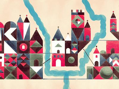 Geometric Village geometic watercolor blog design grunge vector texture illustration government hhs kingdom castle