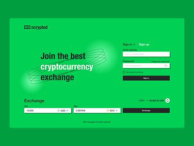 UI Design Challenge - Day 1 - Authentication - Encrypted futuristic minimal graphic design web cryptocurrency sign in log in flat authentication crypto ui