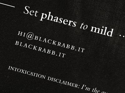 Black Rabbit Business Cards (The Back) black bembo phasers