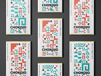 Chokojo packaging branding modern geometric pattern grid modular mexico aztec mayan funky caffeine fairtrade coffee chocolate bar packaging