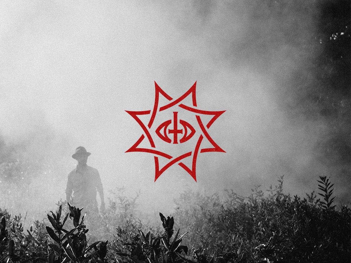 Occult mark eye black death cross band devil edgy pointy heavy metal occult scary satanic vector logo horror