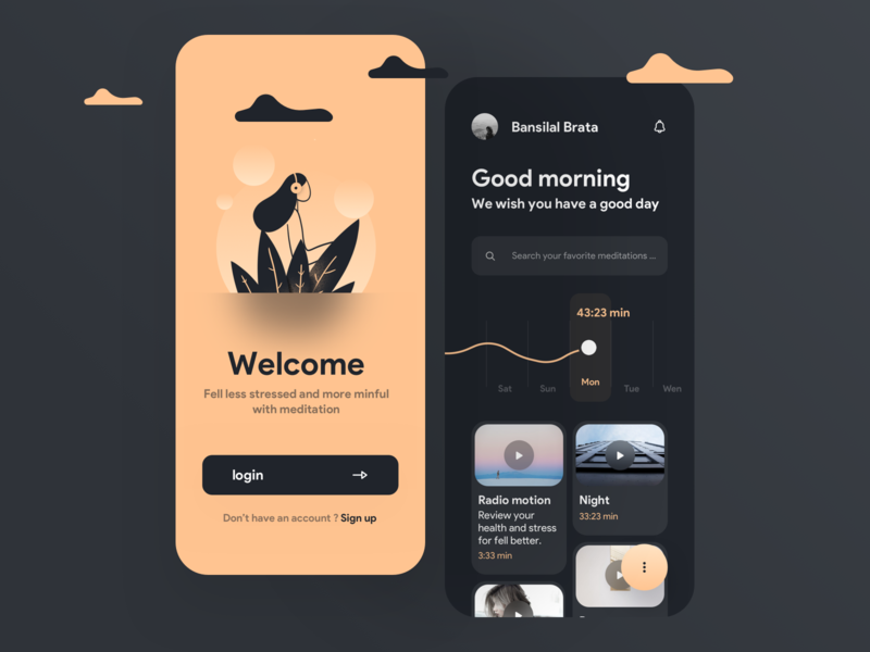 Rello meditation app dashboad meditate meditation rellax home illustration concept mobile design app iphonex ux ios minimal ui