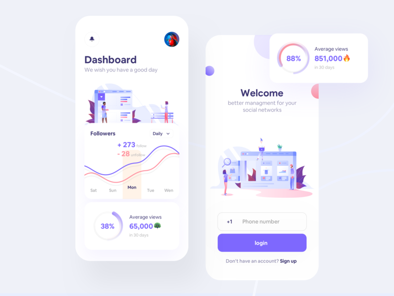 Octapa Social management app icon flat dashboard ui phone illustration concept login social dashboard design app ios iphonex ux minimal ui