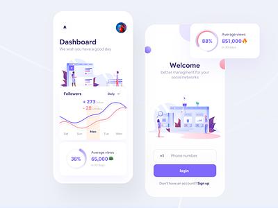 Octapa Social management app icon flat dashboard ui phone illustration concept login social dashboard design app ios iphonex ux minimal ui