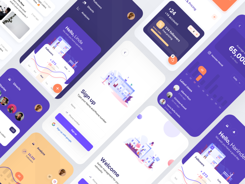 Octapa Social management app graph graphic analyze kit illustration dashboard home mobile concept design app iphonex ux ios minimal ui