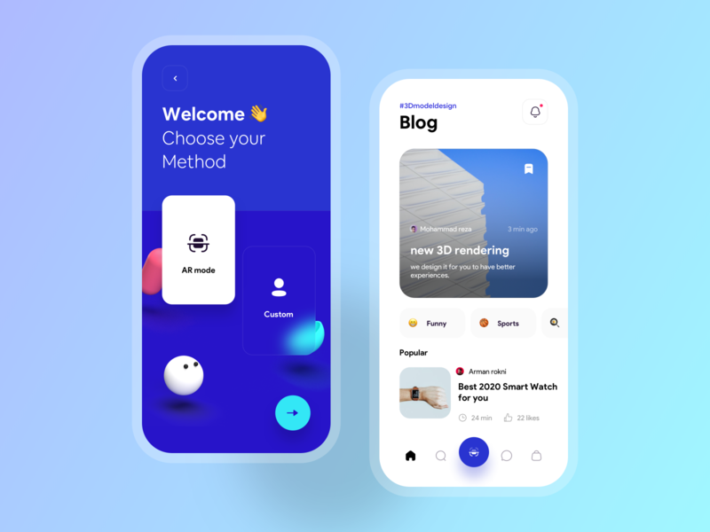 Blog post concept mobile app agreement app blur gradient article blue 3d home mobile design ux ios minimal ui concept medium blog