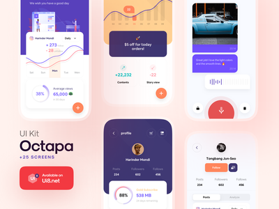 Octapa UI Kit home ui8 phone illustration management social mobile kit design iphonex app ux ios minimal ui