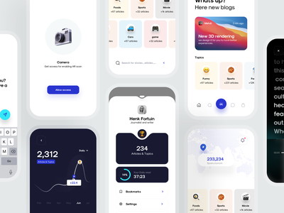 Zone UI kit screens phone newspaper book reading medium articles blogs access dashboard home screens mobile design system kit design iphonex app ux ios minimal