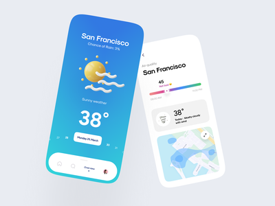 Weatherly app air quality map product home concept app ux ui ios mobile app design weather icon 3d weather mobile minimal
