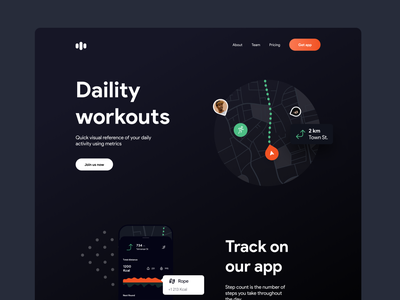 Daility workout landing page ui kit kit app website home desktop mobile sport workout webdesign landing web ux ui minimal