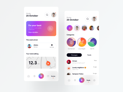 Daility 2 white theme  [ UI Kit ] sketch xd figma running map workout social concept illustration color gradient iphonex app ios ux ui minimal white mobile