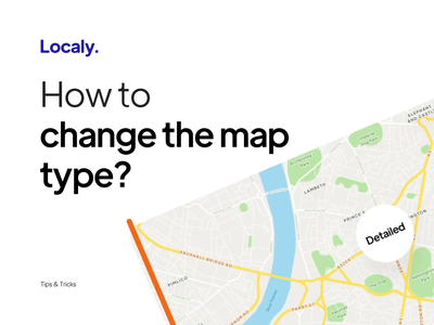 Localy Tutorials - How to change the map type? interaction road paths iconly icons design ux ui minimal app mapui asset navigation map illustration motion graphics graphic design animation