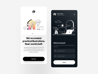 The Odd Illustrations | Mobile Concept figma sketch adobexd procreate illustrations the odd login mobile app concept app ux ui ios illustration design mobile minimal