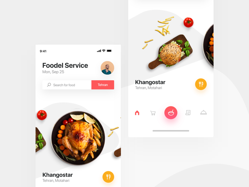 Food 🥘 app concept tehran location search dinner launch light minimal deliver iphonex ux ui food