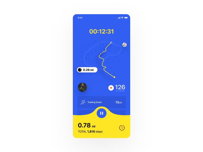 Running app ux ui sport running mobile iphonex ios interaction clean app