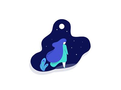 Windy Night moon night girl design minimal illustration