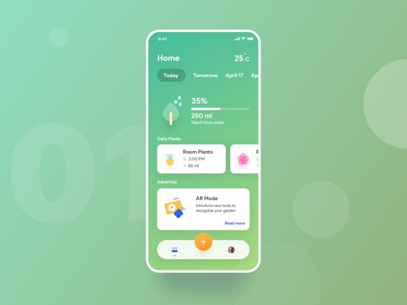 Smart plant app minimal sketch smart care garden plant plants design iphonex app ios ux ui