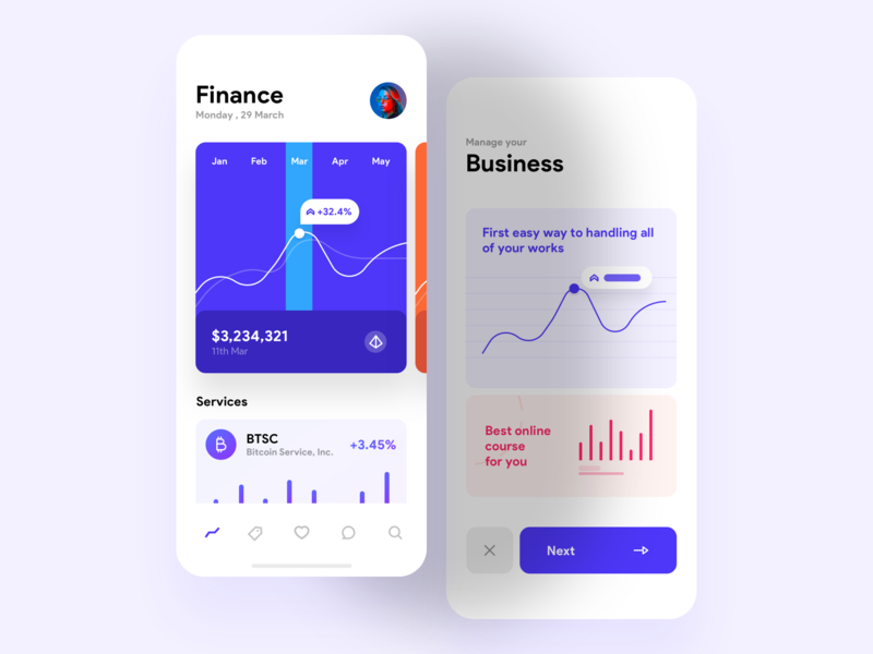 Business management flat iphonex business finance minimal ios ux ui mobile