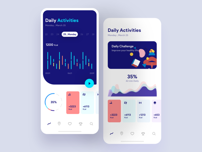 Flat app UI design in a daily activities app concept.