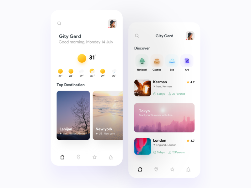 Gity Gard Travel app tourism tour travelling gradient asia app icon weather illustration mobile iphonex design concept travel ios minimal ux ui