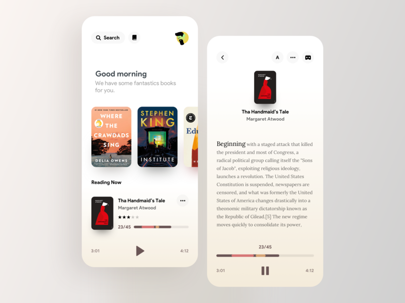 Books Reading app concept mobile vector art suggestion vr player search morning text book color iphonex ios iphone minimal reading books uiux ui
