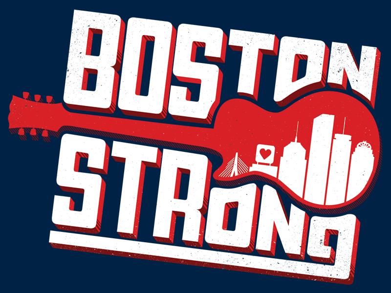 Boston Strong poster bold lettering concert boston boston strong guitar skyline charity benefit boston marathon pro bono