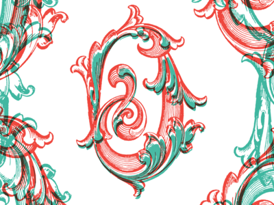 ABC Design Project typography glyph letter o florid baroque swirl scrollwork overlap