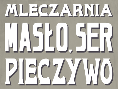 Mleczarnia vintage typography lettering sign polish block shadow