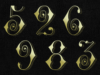 Fancy Numbers 5 2 6 9 8 3 numerals custom typography numbers gold french glyphs fancy