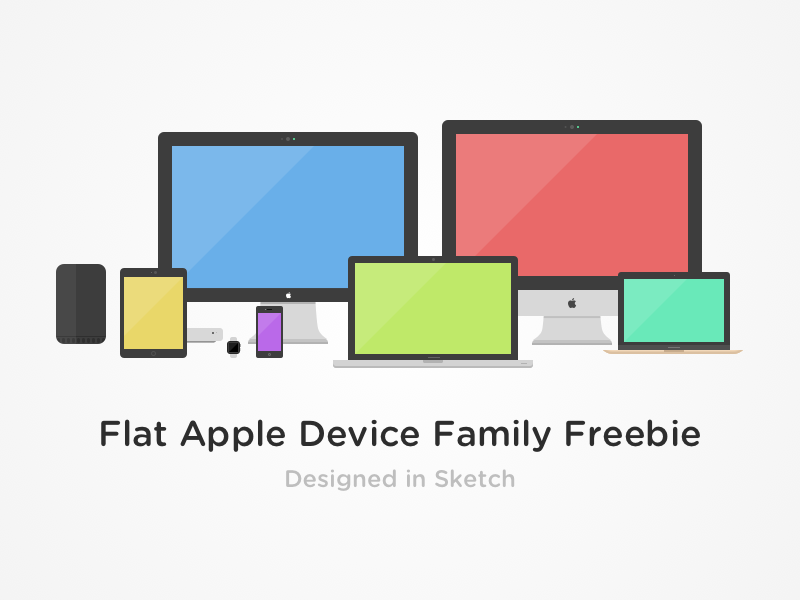 Flat Apple Device Family Freebie sketch watch thunderbolt air ipad iphone macbook imac freebie device apple flat