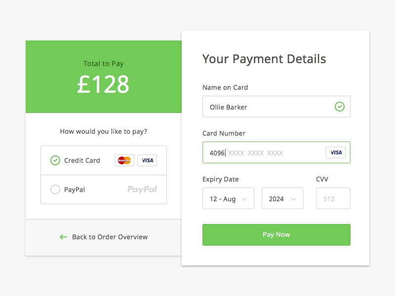 Payment Form by Ollie Barker - Dribbble