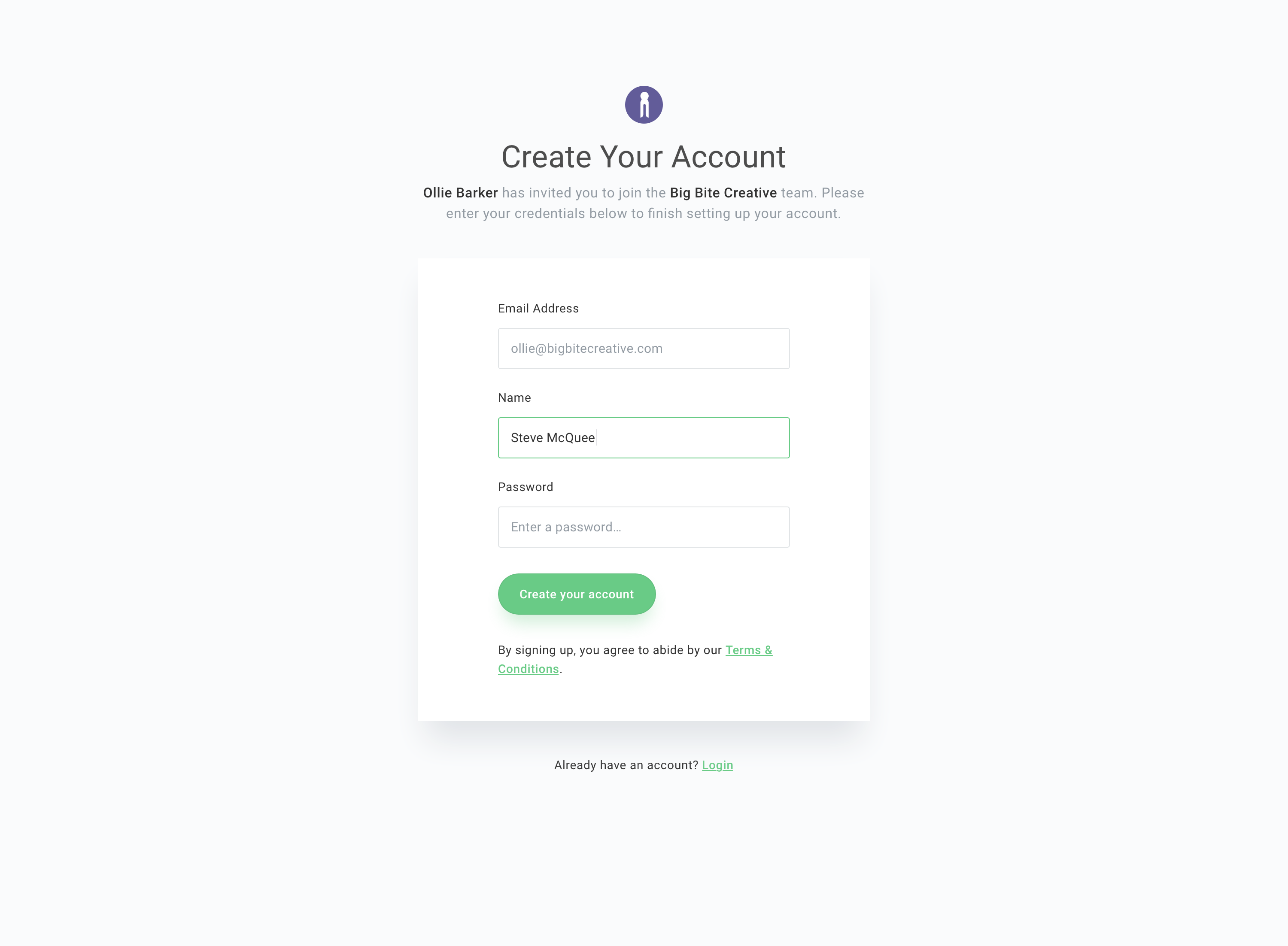 Create your account 2x