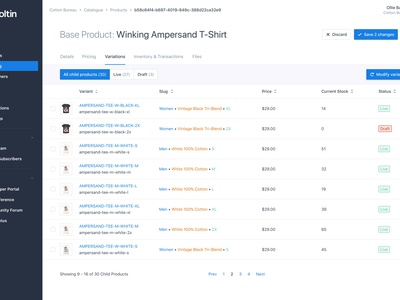Moltin Child Product Builder with Variations Concept inventory management table editor inventory products product dashboard ecommerce commerce api