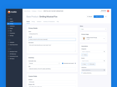 Product Details and Pricing Editor Concept
