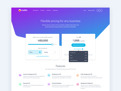 Moltin Pricing Page Concept headless billing subscription payments calculator dashboard pricing ecommerce commerce api moltin