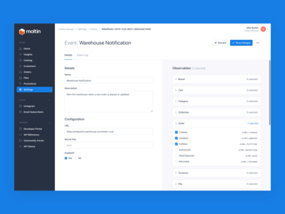 Moltin Event/Webhook Management Concept