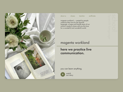 magenta workland | online school spain school spain new ui ux aesthetic aesthetic tones school online school green minimal web design
