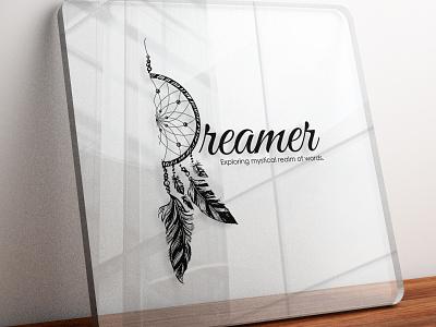 Dreamer - Exploring mystical realm of words logodesignersclub photoshop illustrators hospitality logoidea logoconcept brandidentity logodesigner logodesign illustrator icon branding logo illustration design