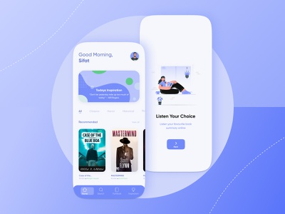 Listeno - Audio Book Listening App illustration mobile app mobile ui ux inspiration app ui branding graphic design app ux ui design
