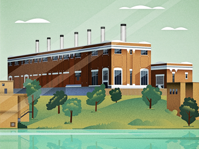 Rossdale Power Plant digital vector art design landscape building architecture illustration edmonton