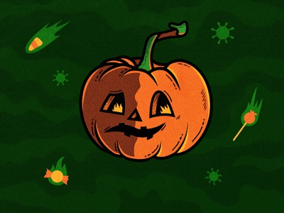 All Tricks, No Treats coronavirus fire halftone flat 2020 texture edmonton candy pandemic covid illustration jackolantern pumpkin halloween