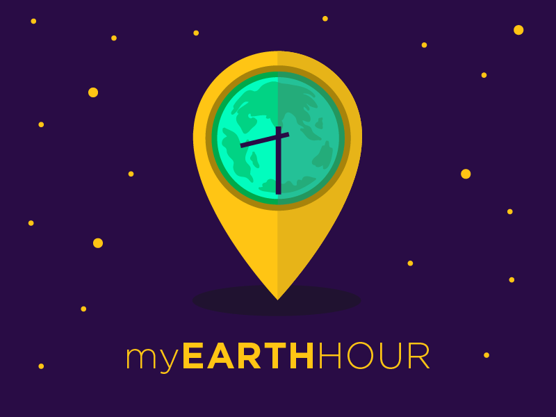 My Earth Hour illustration graphic design drawing clean vector purple flat edmonton branding logo identity earth