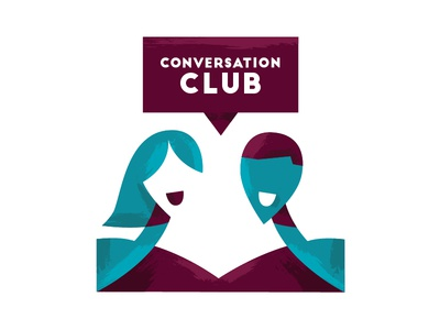 Conversation Club texture bubble speech icon geometric person abstract chat talk conversation illustration