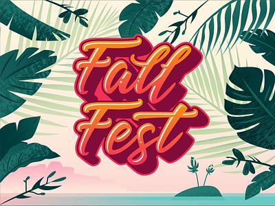 Fall Fest 2017 leaves edmonton yeg festival music beach tropical script university lettering type illustration