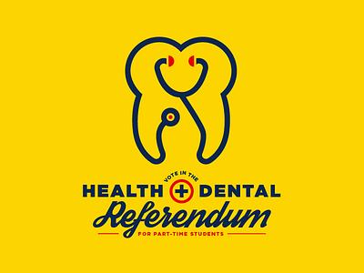 Health & Dental Referendum icon university edmonton yeg type identity logo stethoscope tooth dental health