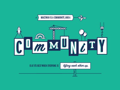 Community minimal clean campus student flat typography kind type lift community university edmonton