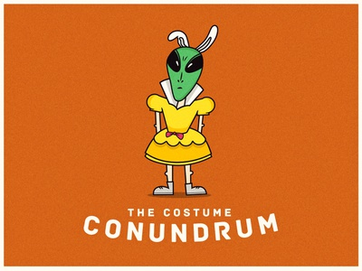 Costume Conundrum character weird alien halloween costume drawing clean icon edmonton flat illustration