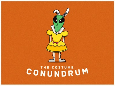 Costume Conundrum character weird alien halloween costume drawing clean icon edmonton flat illustration